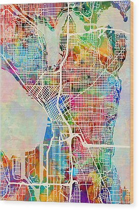 Seattle Washington Street Map Wood Print by Michael Tompsett