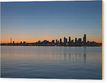 Wood Print featuring the photograph Seattle Washington Waterfront Skyline At Sunrise Panorama by JPLDesigns