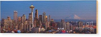 Seattle Winter Evening Panorama Wood Print by Inge Johnsson