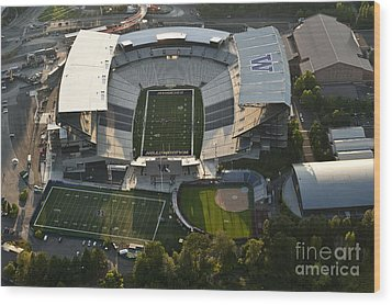 Seattle With Aerial View Of The Newly Renovated Husky Stadium Wood Print