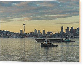 Seattles Working Harbor Wood Print by Mike Reid
