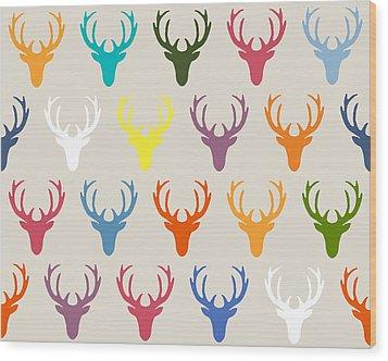 Seaview Simple Deer Heads Wood Print