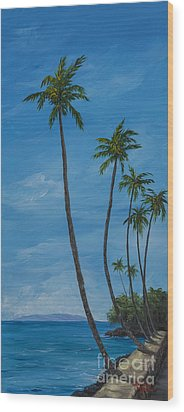Seawall Palms Wood Print by Darice Machel McGuire