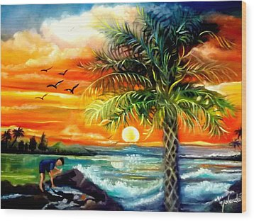 Wood Print featuring the painting Seawaves Sunset In Tampa by Yolanda Rodriguez