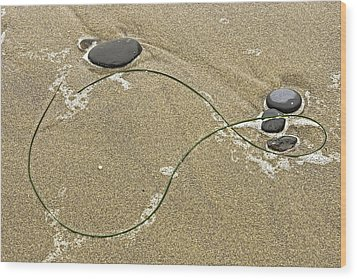 Wood Print featuring the photograph Seaweed Sand And Stones by Judi Baker