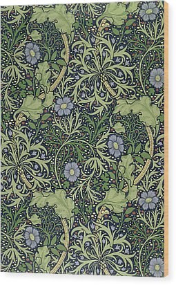 Seaweed Wallpaper Design Wood Print by William Morris