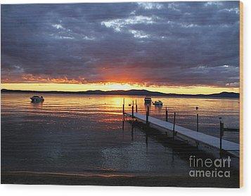 Sebago Lake Sunset Wood Print by Butch Lombardi
