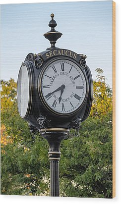 Secaucus Clock Marras Drugs Wood Print by Susan Candelario