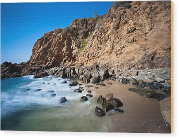 Secluded Beach Cove Wood Print