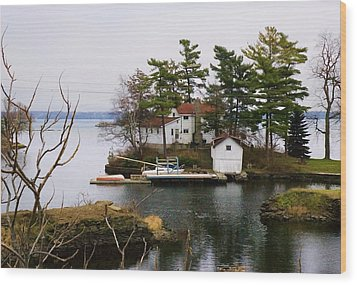 Seclusion On The Saint-laurent Wood Print by Robert Culver
