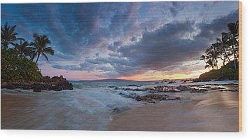Secret Beach Pano Wood Print by James Roemmling
