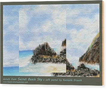 Secret Beach Sky Details Wood Print by Kenneth Grzesik