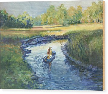 Secret Fishing Hole Wood Print by Alice Grimsley