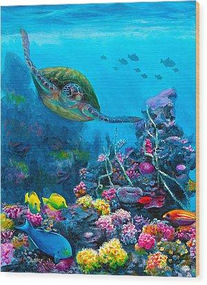 Secret Sanctuary - Hawaiian Green Sea Turtle And Reef Wood Print by Karen Whitworth