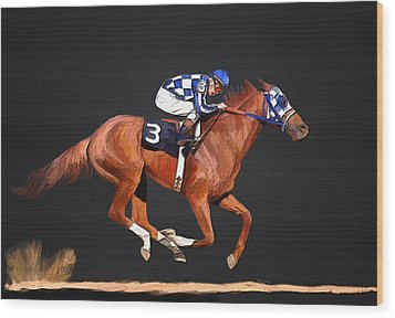 Secretariat And Turcotte Wood Print by GCannon