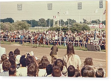 Secretariat Race Horse Coming Down To The Finish Line By Himself To Win The Big Race At Arlington R Wood Print