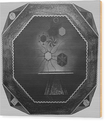 Wood Print featuring the painting Secrets Of Dark Matter And Love - The Painting by James Lanigan Thompson MFA