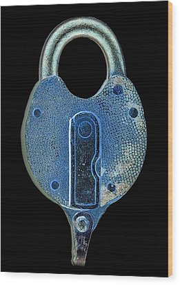Secure - Lock On Black  Wood Print by Denise Beverly