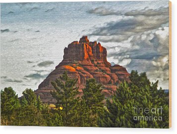 Sedona Arizona Bell Rock Painting Wood Print by Gregory Dyer