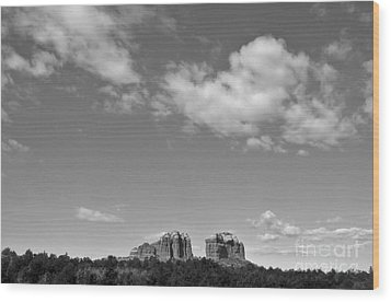 Sedona Arizona Big Sky In Black And White Wood Print by Gregory Dyer