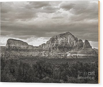 Sedona Arizona Black And White Mountains And Big Sky Wood Print by Gregory Dyer