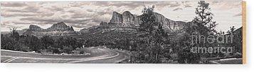 Sedona Arizona Black And White Panorama Wood Print by Gregory Dyer