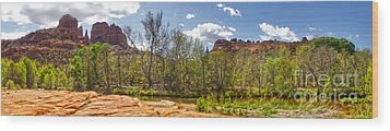 Sedona Arizona Cathedral Rock Panorama Wood Print by Gregory Dyer