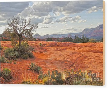 Sedona Arizona Dead Tree - 04 Wood Print by Gregory Dyer