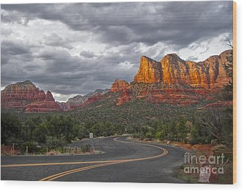 Sedona Arizona Lost Highway Wood Print by Gregory Dyer