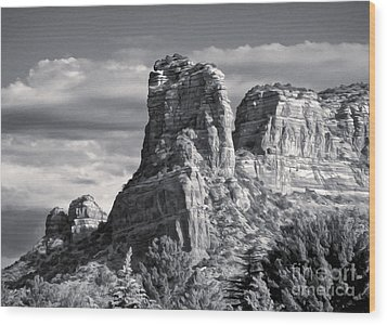 Sedona Arizona Mountain Peak - Black And White Wood Print by Gregory Dyer