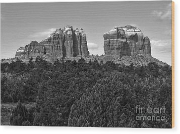 Sedona Arizona Mountains - Black And White Wood Print by Gregory Dyer