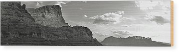Sedona Arizona Mountains Black And White Panorama Wood Print by Gregory Dyer