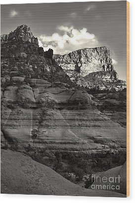Sedona Arizona Mountains In Black And White - 02 Wood Print by Gregory Dyer