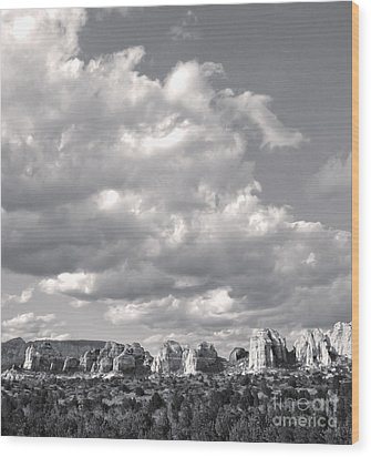 Sedona Arizona Mountains In Black And White Wood Print by Gregory Dyer