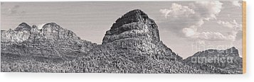 Sedona Arizona Panorama In Black And White Wood Print by Gregory Dyer