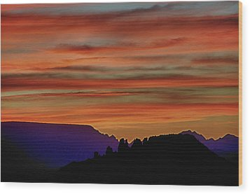 Sedona Az Sunset 2 Wood Print by Ron White