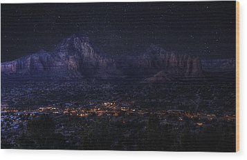 Wood Print featuring the photograph Sedona By Night by Lynn Geoffroy