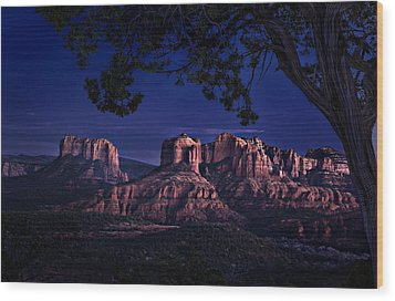 Sedona Cathedral Rock Post Sunset Glow Wood Print by Mary Jo Allen