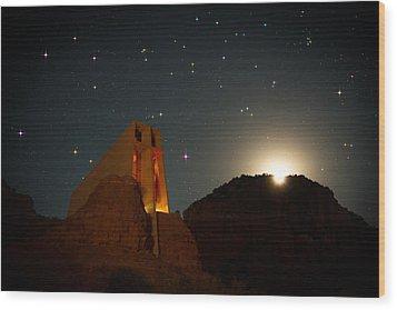 Sedona Chapel Moonrise Vortex Wood Print by Mike Berenson
