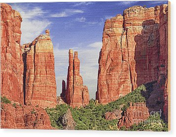 Sedona Red Rock Cathedral Rock State Park Wood Print by Bob and Nadine Johnston
