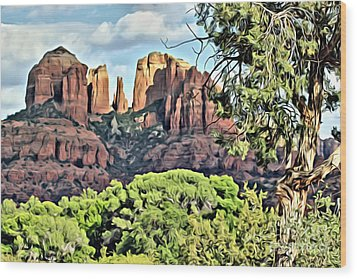 Wood Print featuring the photograph Sedona Scene by Lori Mellen-Pagliaro