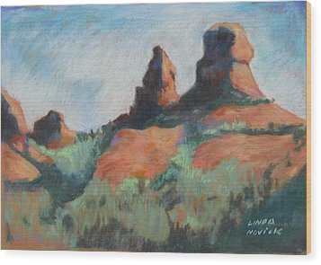 Wood Print featuring the painting Sedona Sisters by Linda Novick