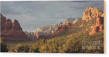 Sedona Sunshine Panorama Wood Print by Carol Groenen