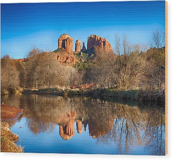 Sedona Winter Reflections Wood Print