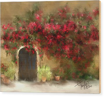The Bougainvillea's Of Sedona Wood Print by Colleen Taylor