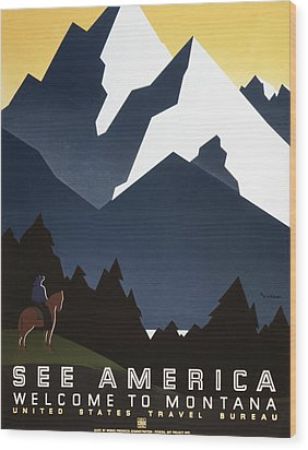 See America - Montana Mountains Wood Print by Georgia Fowler