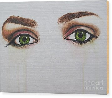 Seeing Into The Soul Serious Wood Print