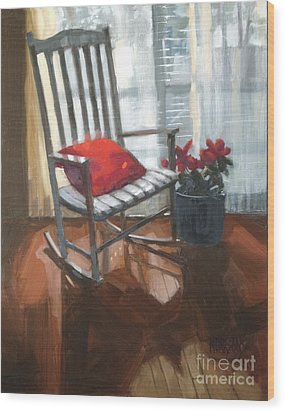 Wood Print featuring the painting Sold - Seeing Red  by Nancy  Parsons