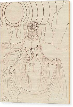 Seeing Spirits Sketch Wood Print by Coriander  Shea