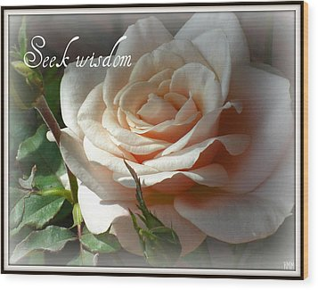 Wood Print featuring the photograph Seek Wisdom Rose by Heidi Manly